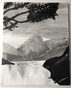 Mountainscape in grays