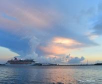 Sunrise over ship